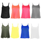 Womens Ladies New Casual Basic Plain Flared Thin Strap Camisole Swing Vest Top