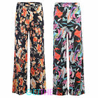 Womens New Silky Jersey Floral Palazzos Ladies Summer Baggy Flared Pants Palazzo