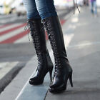 Ladies 2015 Leather Lace Up High Heel Knight Platform Knee High Boots Plus Size