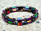 ALL RAINBOW Mens Womens Magnetic Hematite Powerful BRACELET ANKLET RAINBOW 2 row