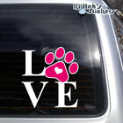 LOVE DOG PAW Vinyl Decal in 2 colors for car, laptop and more sticker K578