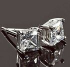 New Silver Men's Princess Cut Square Clear Cubic Zirconia Stone Stud Earrings