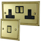Georgian Polished Brass Sockets and Switches - Full Range by G&H Brassware