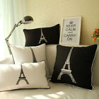 "18"" Classic Eiffel Tower Throw Sofa Car Auto Bed Pillow Case Cushion Cover"