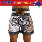 Boxing Shorts Muay Thai MMA Kickboxing Trunks Satin Trousers White Gray M-3XL AU