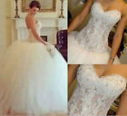 2015 sexy White/Ivory Lace Ball Gown Wedding Dress Custom Size 4 6 8 10 12 14 16
