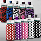 POLKA DOT & ZEBRA PULL TAB POUCH PHONE CASES FOR SONY XPERIA MOBILES