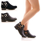 LADIES WOMENS CUT OUT ANKLE BOOTS FLAT CASUAL BUCKLE CHELSEA FASHION SHOES SIZE