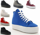 LADIES GIRLS HI-TOP TRAINERS PLATFORM WEDGE CANVAS PUMP LACE UP CREEPERS SHOES