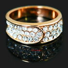 Rose Gold Plated Clear Diamontic Swarovski Crystal Wide Band Cocktail Ring R14