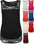 New Womens Lace Lined Sweetheart Scoop Neck Sleeveless Ladies Vest Top 8-14