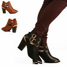 WOMENS LADIES CUT OUT GOLD TOE BUCKLE MID BLOCK HEEL ANKLE BOOTS SHOES SIZE 3-8