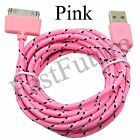 30Pin to USB Data Sync Charger Cable Cord Braided for iPhone 4 iPod 3/4 iPad Lot