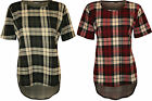 New Womens Tartan Check Print Short Sleeve T-Shirt Scoop Ladies Dip Hem Top 8-14