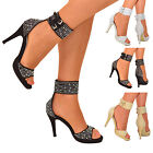 Ladies Barely There Cuff Sandals Crystal Diamante High heel Prom Party Shoe Size
