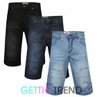 Mens Denim Jeans Shorts Combat Casual Cargo 3/4 Polycotton Shorts with Pockets