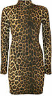 New Womens Leopard Animal Print Ladies Long Sleeve Turtle Neck Dress Top 8 - 14