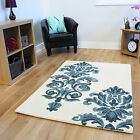 Small Large Blue Damask Thick Wool Rugs Soft Easy Clean Hand Tufted Modern Rug