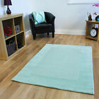 Small Large Soft Thick Green Wool Rugs New Easy Clean Bright Modern Lounge Mats