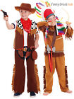Boys Kids Cowboy Red Indian Native American Fancy Dress Role Play Dress Up Kit