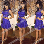 New Sexy Women Purple Sleeveless Floral Lace Cocktail Evening Party  Dress Dy