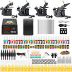 Beginner Complete Tattoo Kit 4 Machine Power Supply Set Grip 54 Color Lnk Needle