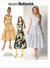 Butterick 6203 V Neck Front Back Full Tiered Skirt Dress Sewing Pattern B6203