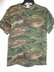 Men's Anvil Army Military Tee T Shirt Green Brown Woodland Camo NEW