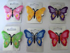 Butterfly Embroidered Fabric Hair Clip Slide Bright Colour Fascinator (384)