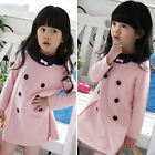 Spring Fall Girls Party Dress Children Double-breasted Princess Dresses Pink New