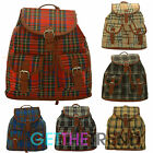 Womens Girls Tartan Plaid Canvas School College Travel Backpack Rucksack New