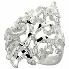 """Sterling Silver Freeform Ring, Polished Finish, 1"""" wide, Sizes 6 - 9"""