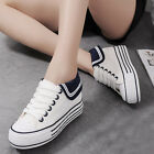 Women Girl Platform Navy Style Canvas Shoes Lace Up Black White Blue Sneakers