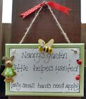 gorgeous personalised Granny Grandma Grandad's little helpers garden plaque gift