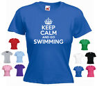 'Keep Calm and Go Swimming' Ladies Girls Funny Swim Pool T-shirt Tee