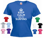 'Keep Calm and Go Surfing' Ladies Girls Funny Surf T-shirt Tee