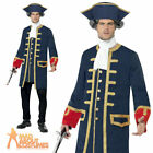 Mens Pirate Commander Costume Navy Admiral Fancy Dress Outfit New