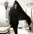 Mens Slim Fit Hoodie Cardigan Long Black Cloak Cape Coat Hip-Hop Hooded S-3XL