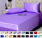 19 Momme 100% Pure Silk  Fitted & Flat Sheet Pillowcase Set Size Twin