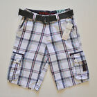 Guess Boys Grey Check Cargo Shorts With Belt Size 10/12/14