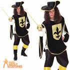 Adult Musketeer Costume Medieval Knight Fancy Dress Mens French Outfit + Hat New
