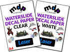 Water Slide Decal Paper A4 LASER Waterslide Transfer Paper &ndash; TEN PACK SIZES <br/> High Print Clarity From 0.89p Per Sheet ✓ FREE SHIPPING
