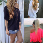 Women's Cotton OFF-Shoulder Blouse Long Sleeve Casual T-Shirt Loose Tops Blouse