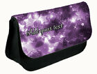 PERSONALISED PURPLE GLITTER & STARS DESIGN LADIES GIRLS MAKE UP BAG CASE