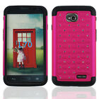 For LG Optimus Exceed 2 VS450PP HOT PINK BLACK CLEAR DIAMOND RUBBER CASE COVER