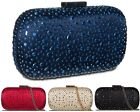 Ladies Diamante Designer Satin Rigid Box Clutch Bag Bridal Bag Handbag K201324