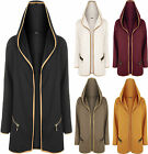 Womens Hooded Open Zip Pocket Long Sleeve Patch Coat Cardigan Top Ladies Jacket