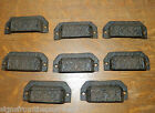 Set 8 Ornate Cast Iron Industrial Tool Seed Index File Bin Pull or Handles