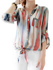 Lady Roll Up Sleeve Stripes Pattern Single Breasted Casual Shirt
