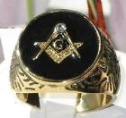 New ALL SIZES P - Z+1 8 - 13 Round Masonic Ring Yellow Stainless Steel LTK768E